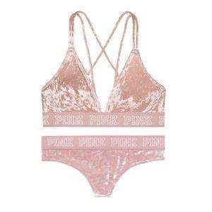8d37f78b21 PINK Victoria s Secret Intimates   Sleepwear - PINK Logo Velvet Bralette   Thong  Panty Set